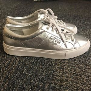 Tory Burch Chace Silver Sneakers Size 7